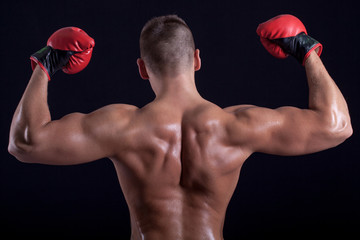 Boxer man showing his back  with red gloves