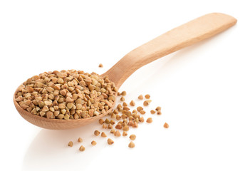 buckwheat groats in spoon
