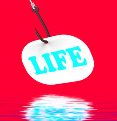 Life On Hook Displays Happy Lifestyle Or Prosperity
