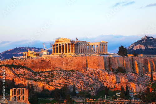 Staande foto Athene Acropolis in Athens, Greece in the evening