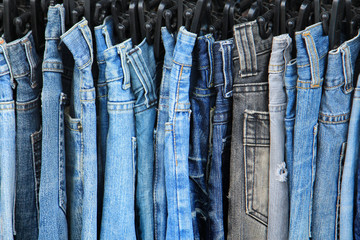 Row of hanged jeans