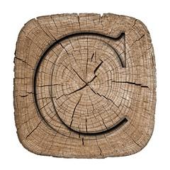 Wooden alphabet block, letter C