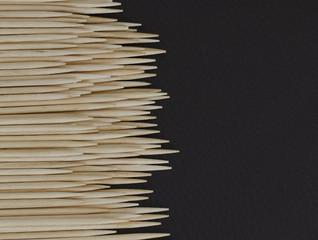 Toothpicks on leather