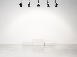 studio interior with empty podium