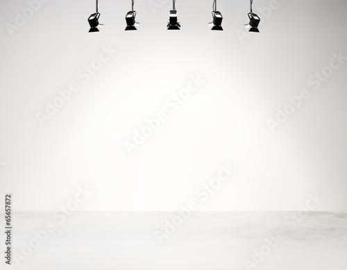 Leinwandbild Motiv studio background with spotlights