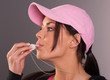 Attractive Brunette Female Blows Whistle Pink Ball Cap Whistle