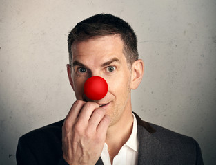 man with red nose