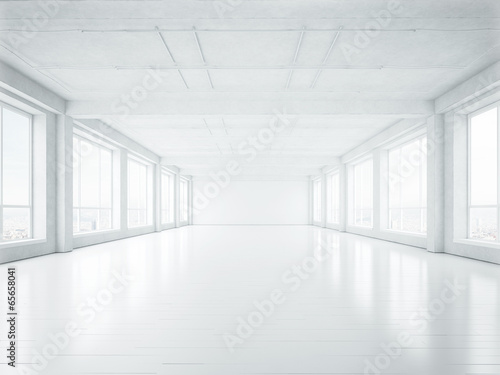 empty white interior - 65658041