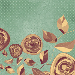 Romantic floral card with vintage roses. EPS 8