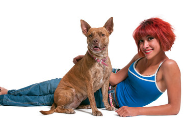 Beautiful Woman and Pit Bull mix dog