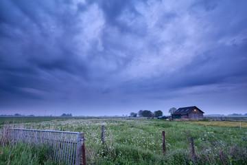 farmhouse in dusk