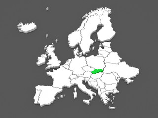 Map of Europe and Czech.