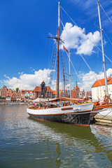 Sailboat at marina on Motlawa river in Gdansk, Poland