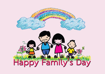 Happy family 's day  father, mother, son , girl idea design