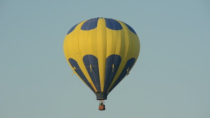 Colorful hot air balloon takes flight