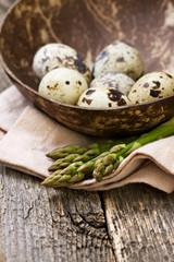 asparagus, quail eggs