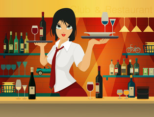 Female bartender.