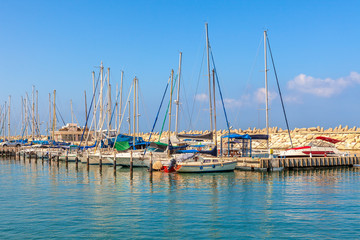 Yachts on marina of Ashkelon, Israel.