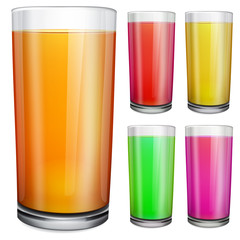Glasses with opaque colored juice