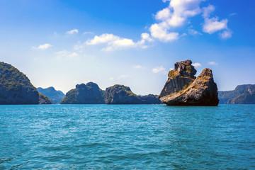 Beaty limestone rock in the ocean