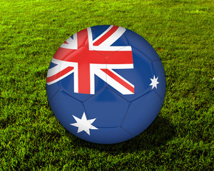 3d Australia Soccer Ball with Grass Background - isolated