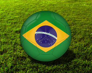 3d Brazil Soccer Ball with Grass Background - isolated