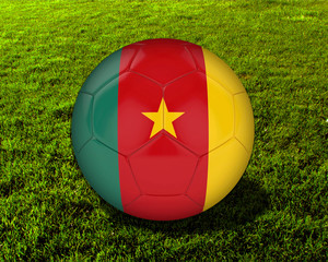 3d Cameroon Soccer Ball with Grass Background - isolated