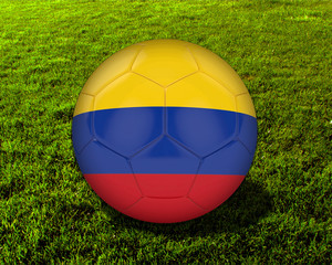 3d Colombia Soccer Ball with Grass Background - isolated