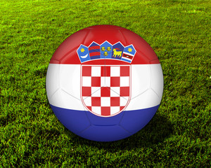 3d Croatia Soccer Ball with Grass Background - isolated