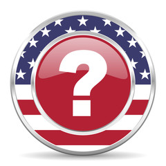 question mark american icon, usa flag