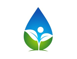 logo symbol icon water drop and plant