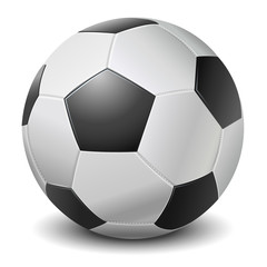 Detailed black fringe football ball isolated on white background