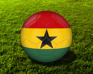 3d Ghana Soccer Ball with Grass Background - isolated