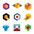 Creative 3d cube for professional company logo icon