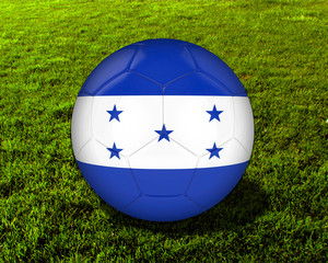3d Honduras Soccer Ball with Grass Background - isolated