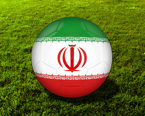 3d Iran Soccer Ball with Grass Background - isolated