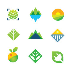 Wild green nature captured energy for future logo icon