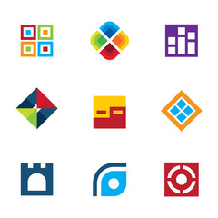 Colorful startup innovation idea icon set business logo vector