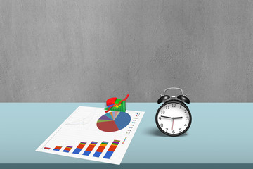 Statistic drawing and 3d chart with alarm clock