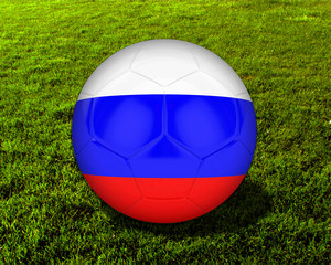 3d Russia Soccer Ball with Grass Background - isolated
