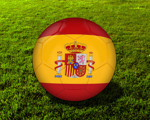 3d Spain Soccer Ball with Grass Background - isolated