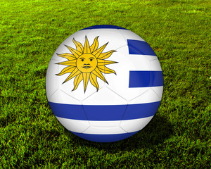 3d Uruguay Soccer Ball with Grass Background - isolated