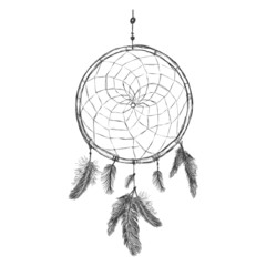 Vector Sketch Indian Mascot Dream Catcher