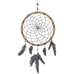 Vector Cartoon Indian Mascot Dream Catcher