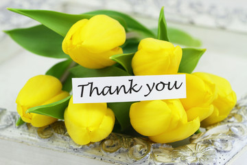 Thank you card with yellow tulips