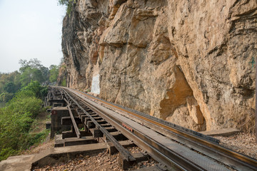 Railroad parallel to the edge of the cliff.
