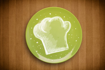 Colorful plate with hand drawn white chef symbol
