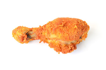 Golden brown fried chicken drumsticks