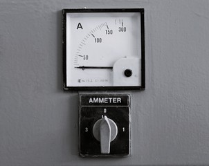 Old gauges , Control panel with few analog ammeter