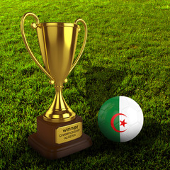 3d Algeria Soccer Cup and Ball with Grass Background - isolated